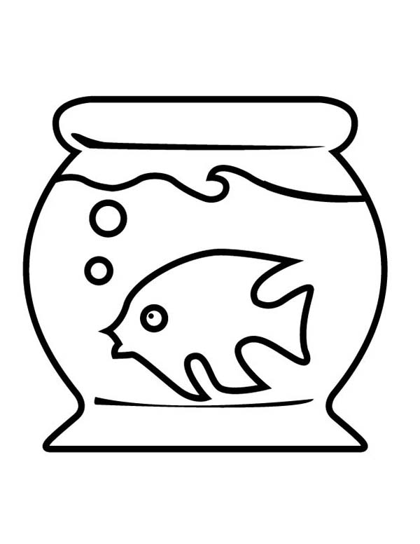 Fish Tank and Little Fish Inside Coloring Page
