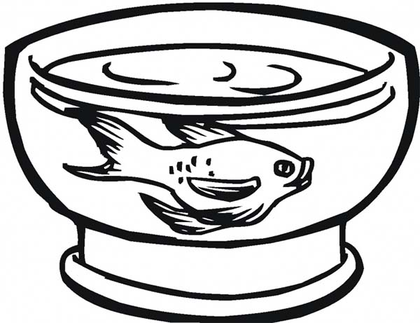 Fish Tank for Goldfish Coloring Page