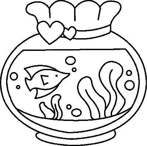 Fish Tank from Love Ones Coloring Page
