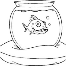Fish Tank on a Pillow Coloring Page