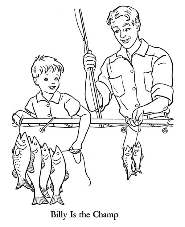 Fishing with Grandpa on Gran Parents Day Coloring Page