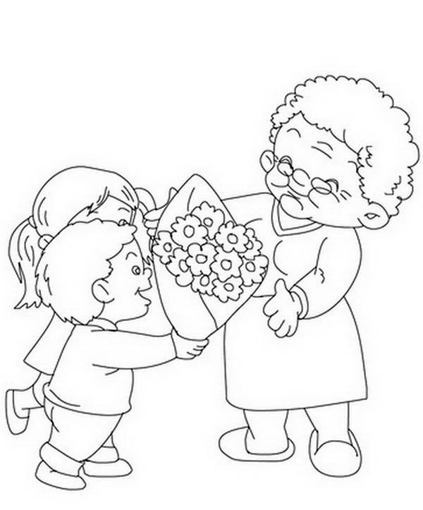 Flower Bouquet for Grandma on Gran Parents Day Coloring Page