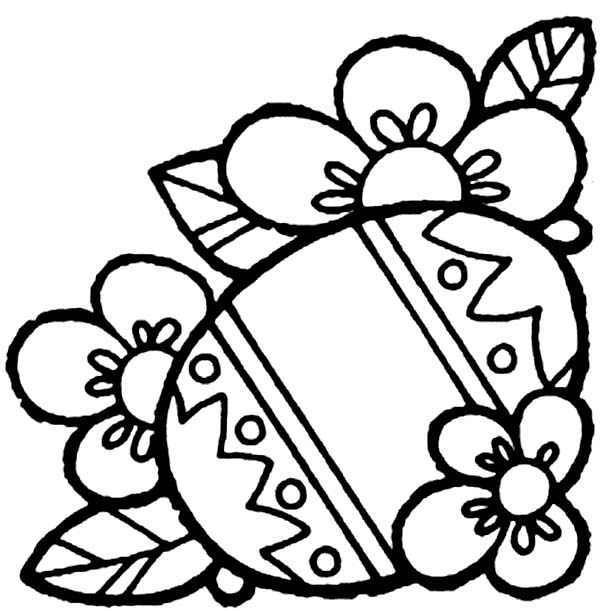 Flower and Easter Egg Coloring Page