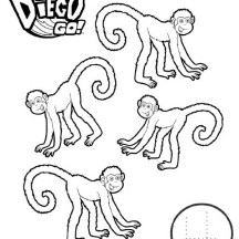 Four Monkeys in Go Diego Go Coloring Page