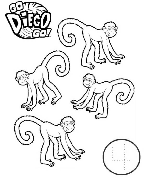 go dog go coloring pages | Four Monkeys in Go Diego Go Coloring Page - NetArt