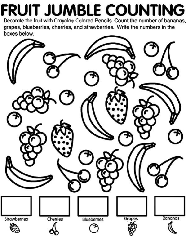 Fruit Jumble Counting Coloring Page