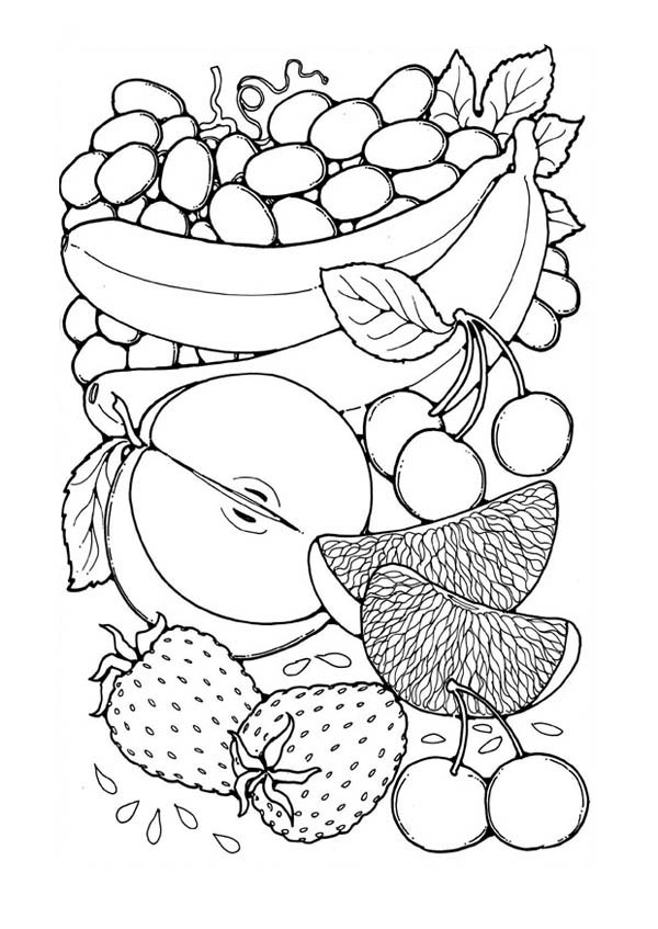 Fruit Picture for Calender Coloring Page