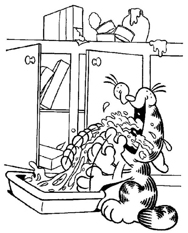 Garfield Drink Water Wildly Coloring Page
