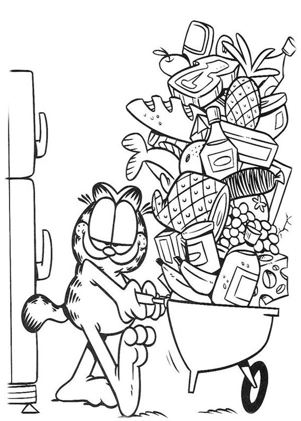 Garfield Taking Food from Freezer