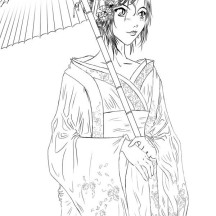 Geisha Coloring Page for Kids