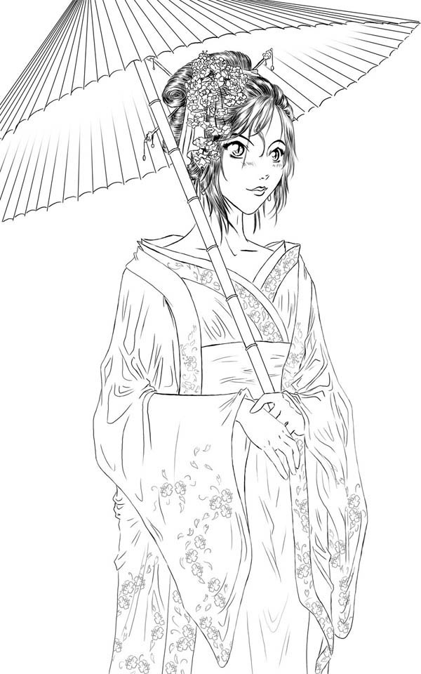 Geisha Coloring Page For Kids Netart