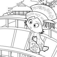 Geisha Cross the Bridge Coloring Page