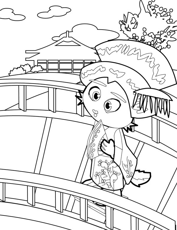 Geisha Cross the Bridge Coloring Page