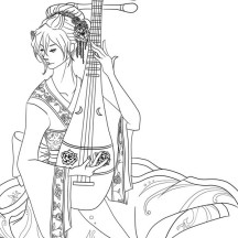Geisha Playing Sitar Coloring Page