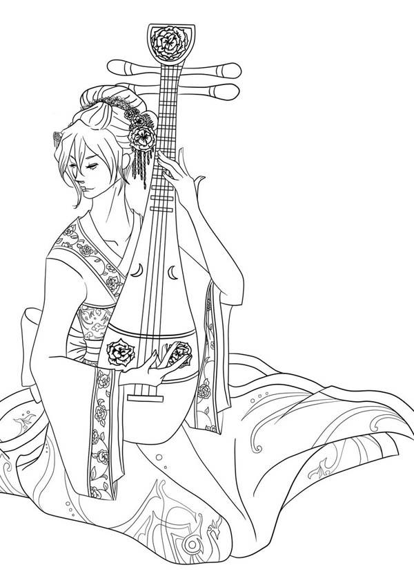 Geisha Playing Sitar Coloring Page