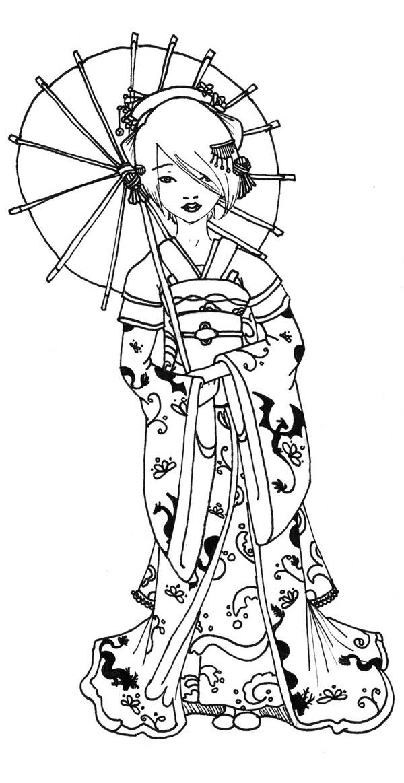 Geisha Under Traditional Unbrella Coloring Page Netart