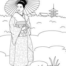 Geisha in Japan Land Coloring Page