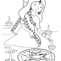 Girl Painting Rangoli for Diwali Festival Coloring Page
