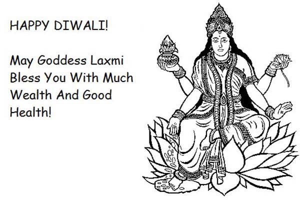 Goddess Laxmi Blessings on Diwali Day Coloring Page