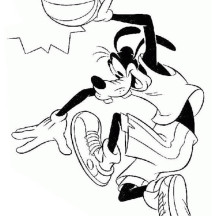 Goofy is a Basketball Player Coloring Page
