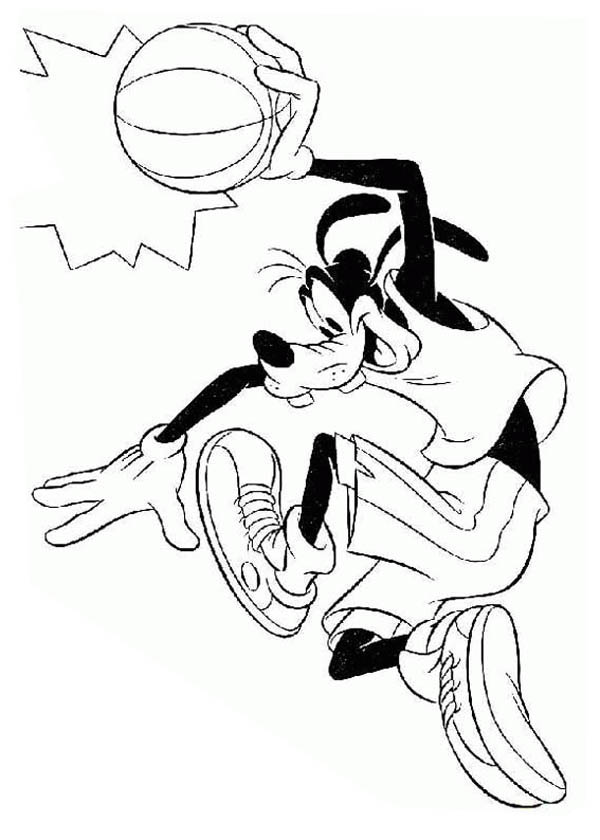 goofy is a basketball player coloring page netart
