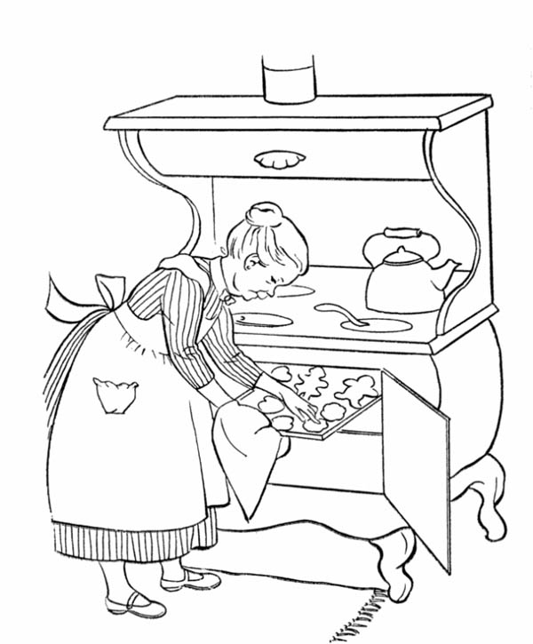Grandma Cooking for in Gran Parents Day Coloring Page