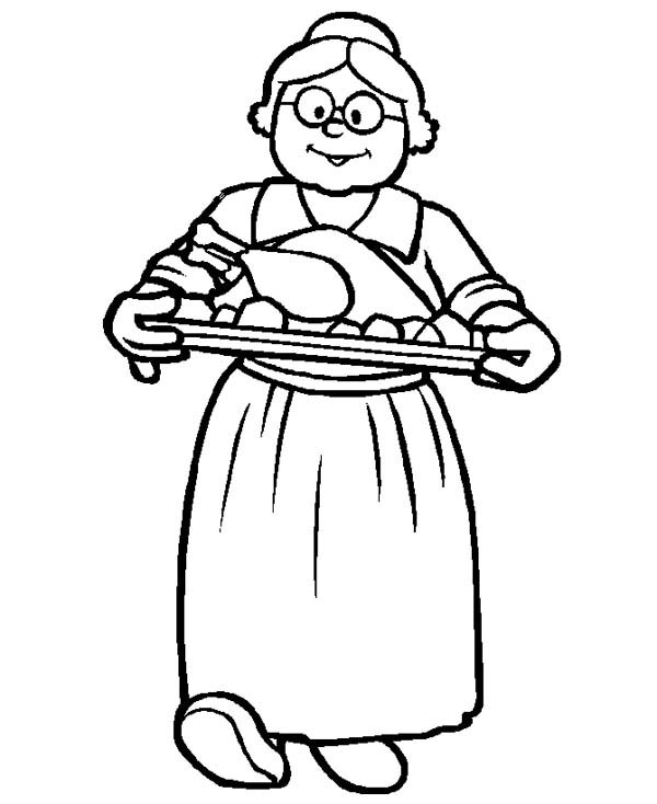 Grandma Cooking to Celebrate Gran Parents Day Coloring Page