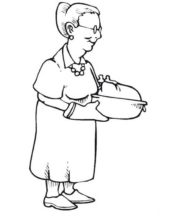 Grandma Famous Turkey on Gran Parents Day Coloring Page