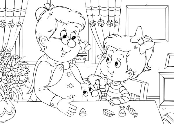 Grandma Telling Story to Her Grandchildren in Gran Parents Day Coloring Page