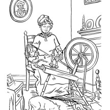 Granma Weaving in Gran Parents Day Coloring Page