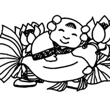 Great Chinese God in Chinese Symbols Coloring Page