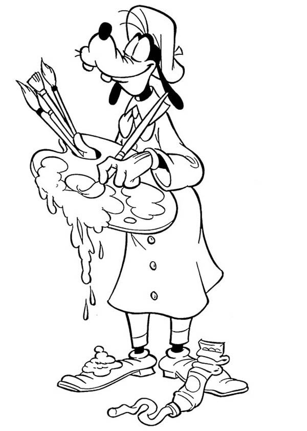 Great Painter Goofy Coloring Page