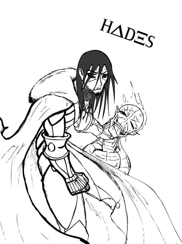 Hades Defeat His Enemy Coloring Page
