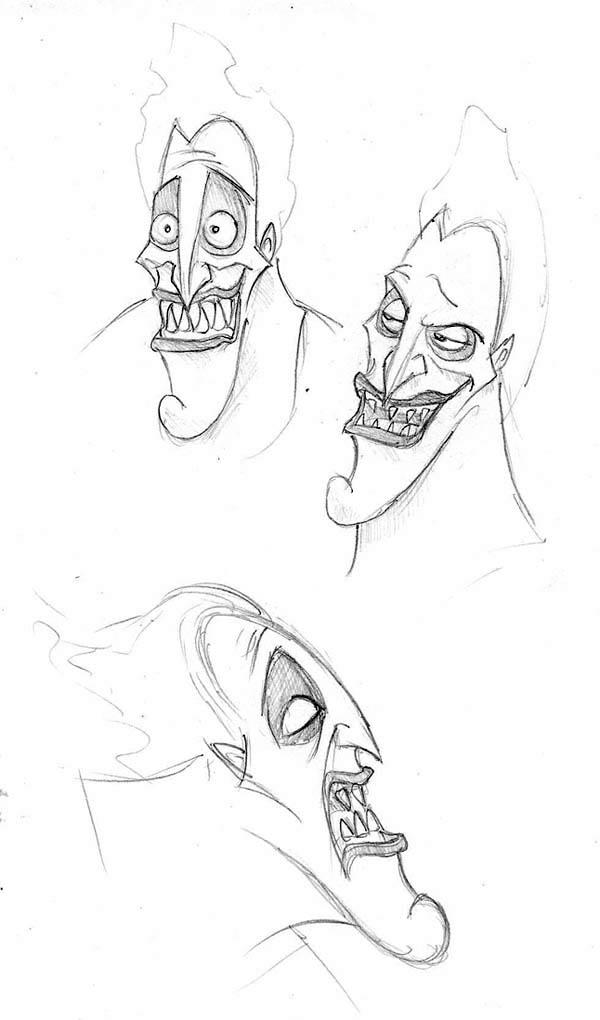 Hades Facial Expression Coloring Page