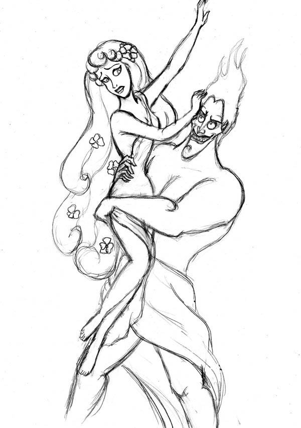 hades symbol coloring pages | Hades Kidnap Persephone Coloring Page - NetArt