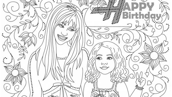 Happy Birthday Miley Stewart in Hannah Montana Coloring Page