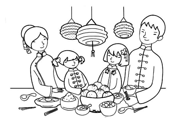 Happy Chinese New Year Feast with the Family in Chinese Symbols Coloring Page