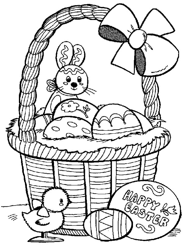 Happy Easter from Rabbit and Baby Chick Coloring Page