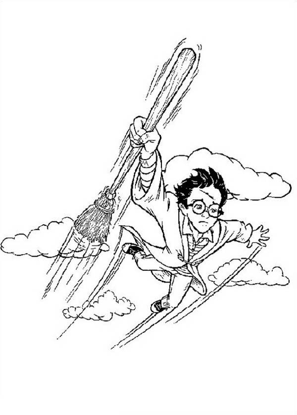 Harry Potter Flying to the Sky Coloring Page