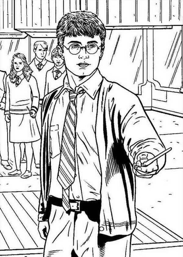 Harry Potter Had a Duel Coloring Page
