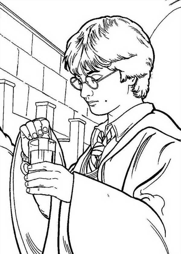 Harry Potter Make His Polyjuice Potion Coloring Page
