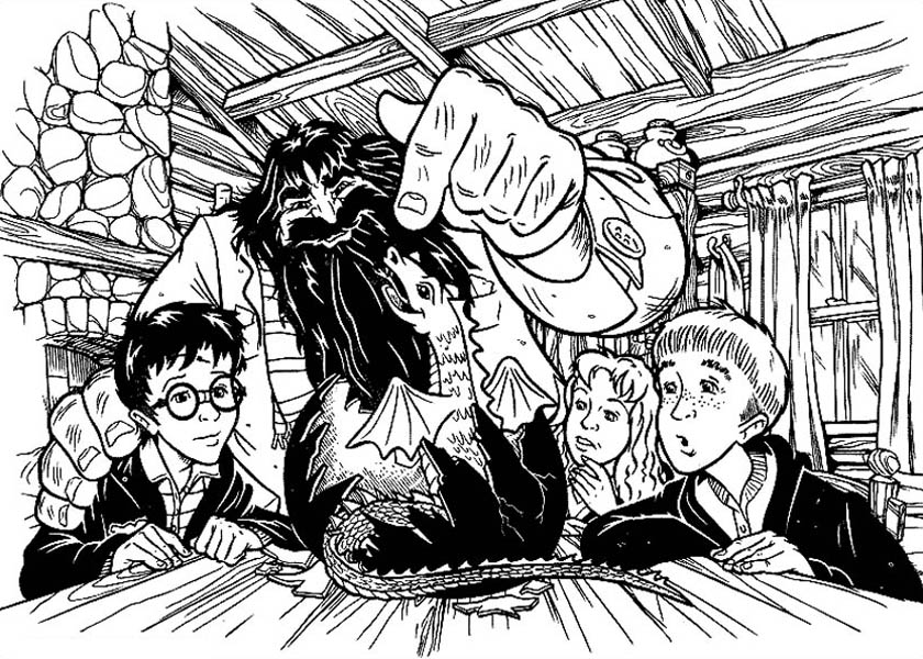 Harry Potter and Friends Saw Hagrid Baby Dragon Coloring Page