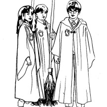 Harry Potter and His Best Friends Coloring Page