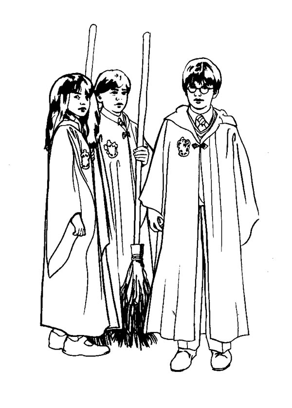 Harry Potter And His Best Friends Coloring Page Netart