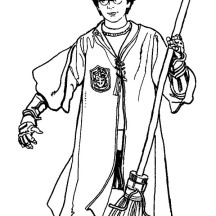 Harry Potter at Quidditch Championship Coloring Page