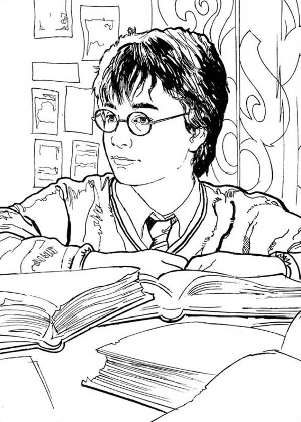 Harry Potter in Library Coloring Page