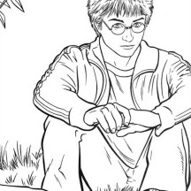 Harry Potter is Sitting on the Park Coloring Page