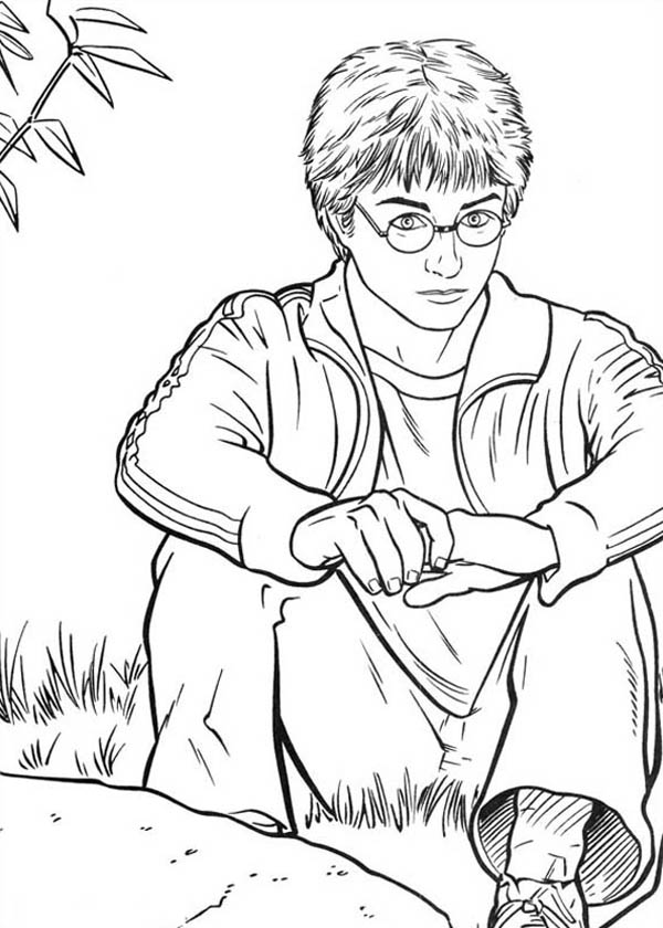 Harry Potter is Sitting on the Park Coloring Page - NetArt