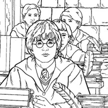 Harry Potter is Studying Coloring Page