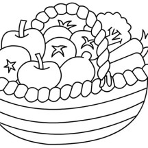Healthy Fruit in a Wide Basket Coloring Page